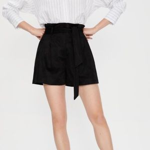 ZARA High Waist Faux Suede Black Shorts Front L